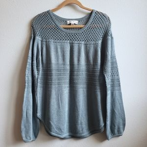 NWOT Knox Rose Slate Blue Open Knit Sweater